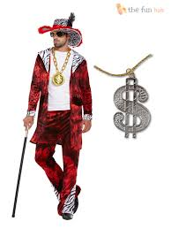gangster halloween costumes for men mens 70s pimp gangster big daddy with dollar medallion fancy