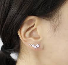 ear pin 3d triangle necklace in gold silver pink gold