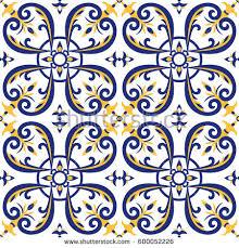 portuguese tiles pattern vector blue yellow stock vector 600052226