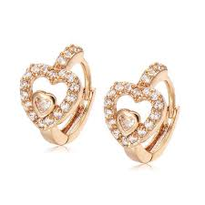baby diamond earrings baby heart earrings in diamonds yellow gold jewelry at rs 12864