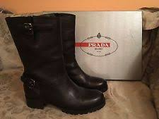 womens biker boots size 11 low 3 4 in to 1 1 2 in motorcycle prada boots for ebay
