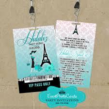 Sweet 16 Invitations Cards Eiffel Sweet 16 Pass Sweet 16 Teen Quinceanera Vip Pass Invitations