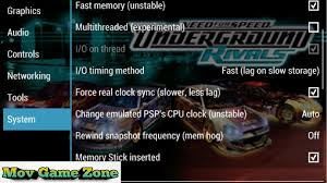 best ppsspp setting for speed underground rivals gold