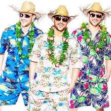 Tacky Tourist Halloween Costume Hawaiian Suit Mens Fancy Dress Beach Hula Party Tropical Adults