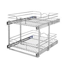 kitchen cabinet storage solutions lowes rev a shelf 17 75 in w x 19 in h 2 tier pull out metal soft baskets organizers