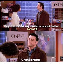 Chandler Meme - bd i m here for my eyebrow appointment name friends hgcaps 9x13