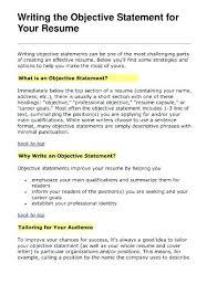resume objective statements writing an objective for resume resume objective statements resume