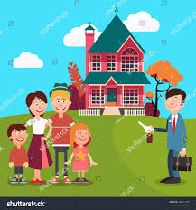 happy family buying new house real stock vector 444071284