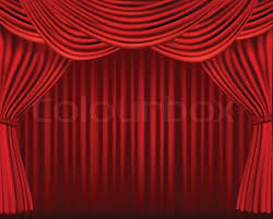 Theater Drop Curtain Background With Red Velvet Curtain Vector Illustration Stock
