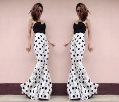 women u0027s high waisted white with black polka pots flared