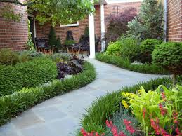 flagstone path with liriope border in the ford courtyard garden