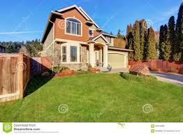 large modern house with driveway and garage stock photo image