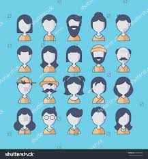 thanksgiving avatars people avatar flat thin line icons stock vector 276322706