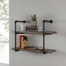 Wall To Wall Bookcases Danya B Two Tier Industrial Pipe Wall Shelf Free Shipping Today