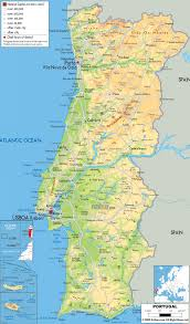 Physical Map Of Italy by Maps Of Portugal Detailed Map Of Portugal In English Tourist