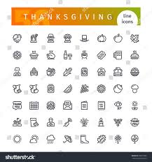 set 56 thanksgiving line icons suitable stock vector 658015882