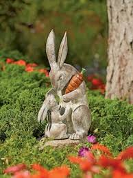 45 concrete lawn garden bench rabbit statue ornament ebay