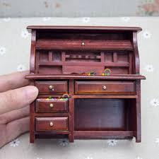 Schreibtisch Holz Mit Schubladen Puppenhaus Miniaturen 1 12 Skala Zimmer Möbel Zubehör Holz Studie