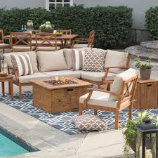 Patio Furniture Set With Fire Pit Table - belham living brighton outdoor wood conversation set with