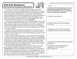 gold rush boomtowns 4th grade reading comprehension worksheet
