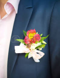 Boutonniere Flower Classic Red Rose Wedding Boutonniere On Suit Of Groom Stock Photo
