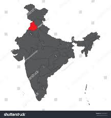 Gujarat Map Blank by Punjab Red On Gray India Map Stock Vector 502297879 Shutterstock