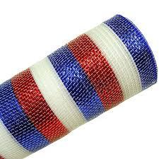 deco mesh ribbon deco poly mesh ribbon white blue foil stripe