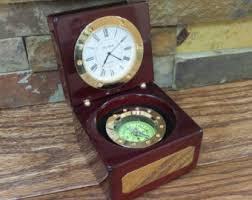 Nautical Desk Clock Desk Compass Etsy