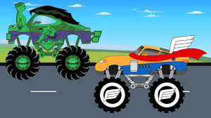 monster truck cartoon videos hulk truck vs thor monster truck video for children kids