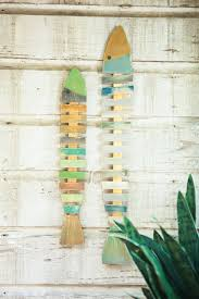 kalalou recycled painted wooden fish wall hangings set of 4