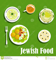 kosher dishes of jewish cuisine1 stock vector image 67876707