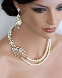 wedding jewelry wedding pearl necklace vine leaf gold bridal necklet swarovski