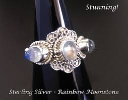 gemstones silver rings images Sterling silver ring with 3 moonstone gemstones gemstone ring gif
