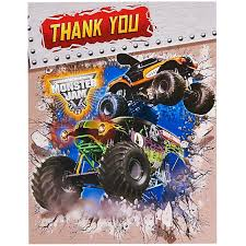 monster jam truck party supplies thank you notes birthdayexpress com