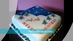 Christmas Cake Decorations Marzipan by Easiest Square Christmas Cake Youtube
