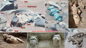 ancient aliens on mars curiosity spotted carved animal statue and
