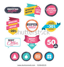 christmas tree sales black friday round stickers website banners sale icons stock vector 521755384