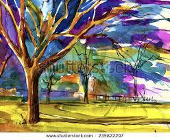 beautiful tree garden bright colored watercolor stock illustration