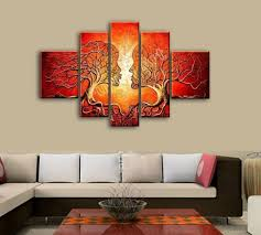 simple wall paintings for living room red painted wall art canvas decoration abstract tree face oil