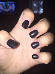 short square round acrylic with matte black gel and a shining tip