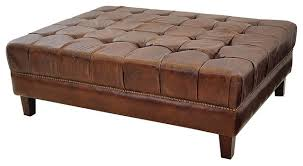 Square Brown Leather Ottoman Brown Leather Tufted Ottoman Ecoel Paso