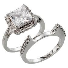 Cubic Zirconia Wedding Rings by Silver Plated Square Cut Halo Cubic Zirconia Wedding Ring Set