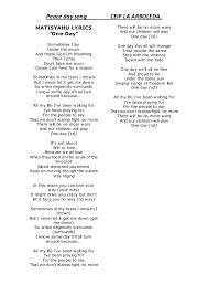 """Peace day song CEIP LA ARBOLEDA MATISYAHU LYRICS """" e Day"""" Sometimes I lay"""