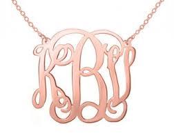monogram necklace silver monogram necklace etsy