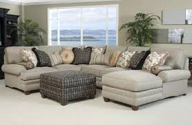 Gray Fabric Sectional Sofa Gray Fabric Sofa With Colorful Cushions Plus Brown Wooden