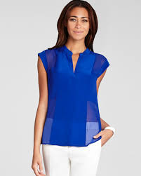 royal blue blouse top lyst bcbgmaxazria blouse silk in blue