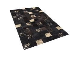 pouf en peau de vache tapis design peau de vache 140x200 cm brun bandirma