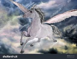 digital render painting pegasus winged horse stock illustration