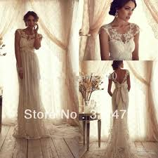 vintage summer wedding dresses a line lace bridal gowns sheer lace crew neck backless empire