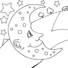 moon looking at villager house coloring page coloring sky